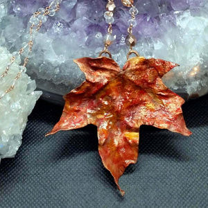 handmade Jewelry - Copper Electroformed Natural Leaf Necklace